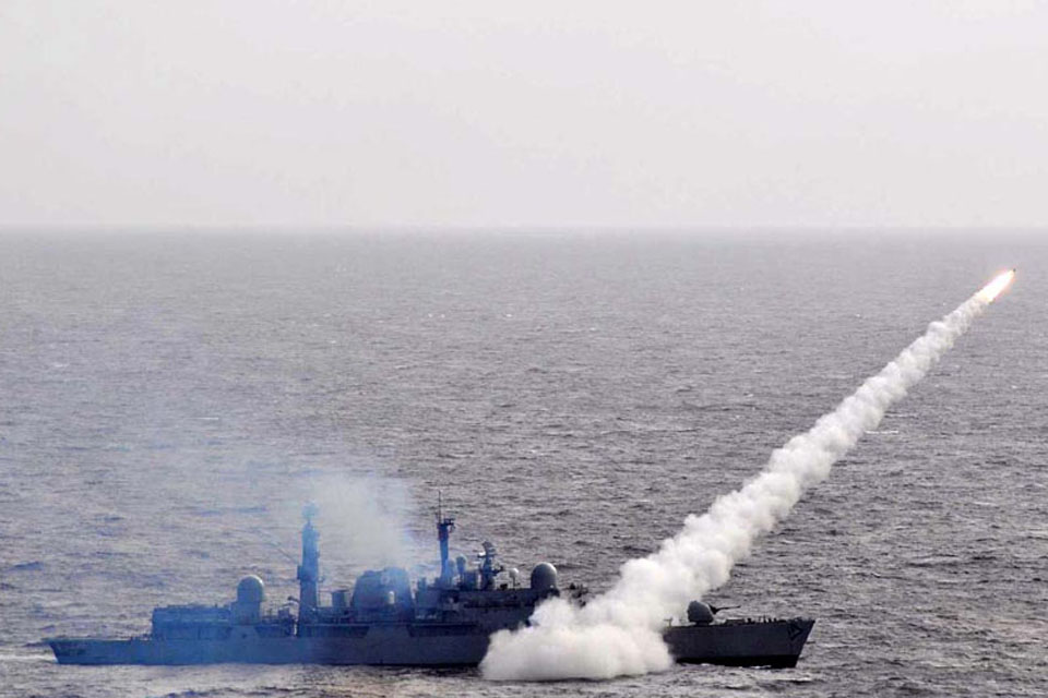 Sea Dart missile firing from onboard HMS Liverpool