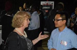 High Commissioner Alison Blackburne speaks to a Chinese businessman
