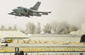 An RAF Tornado GR4 takes off from Kandahar Airfield in Afghanistan