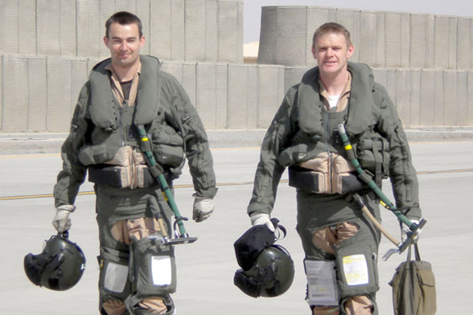 Flight Lieutenants Chris Jenkins (left), Tornado pilot, and Jamie Newton, navigator; both are serving with II (Army Cooperation) Squadron, Royal Air Force, in Kandahar, Afghanistan