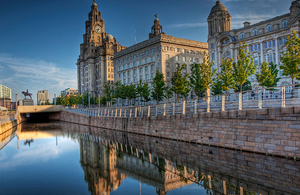 The Three Graces: Customs House, Cunard Building and Royal Liver Building in Liverpool