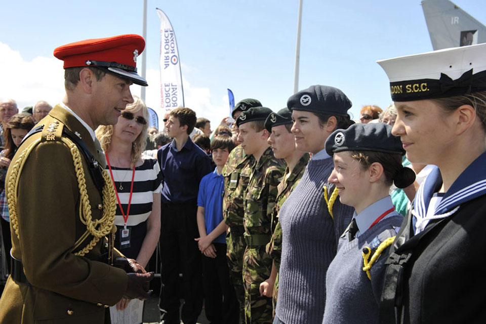 His Royal Highness Prince Edward talks to cadets at the Armed Forces Day National Event in Plymouth