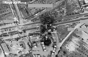 Footage from a Tornado GR4 aircraft of Paveway IV bombs destroying the top two floors of a building in the besieged Libyan city of Misurata