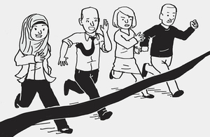 An illustration of four people running towards a finish line.