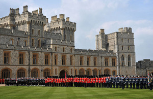 Members of Her Majesty's Armed Forces muster on the Quadrangle at Windsor Castle