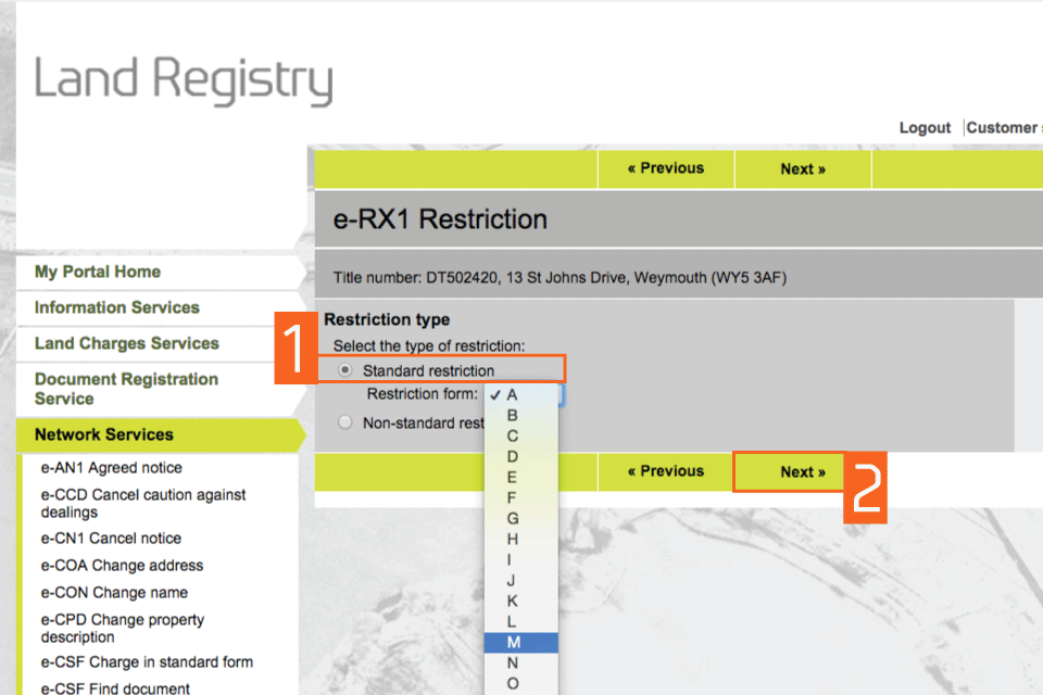 Select the restriction type