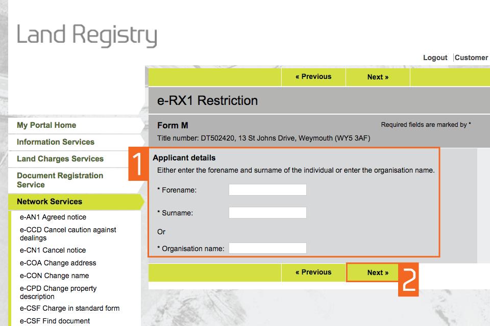Enter applicant details (M)