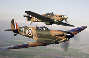 Spitfire P7350 (front) flies alongside Hurricane LF363 (back). The P7350 (Mk IIa) is the oldest airworthy Spitfire in the world and the only Spitfire still flying to have actually fought in the Battle of Britain
