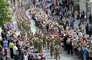 Cheering crowds line the streets of Colchester to welcome the soldiers of 16 Air Assault Brigade home from operations in Afghanistan