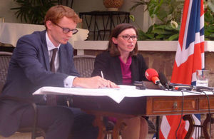 Danae Dholakia, UK Special Envoy for the Great Lakes, alongside Jon Lambe (DHM, Kinshasa) during the press conference in Kinshasa