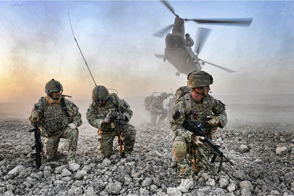 Soldiers from 16 Air Assault Brigade are dropped by Chinook helicopter into an area of operations in Afghanistan late in 2010 during Operation HERRICK 13 (stock image)