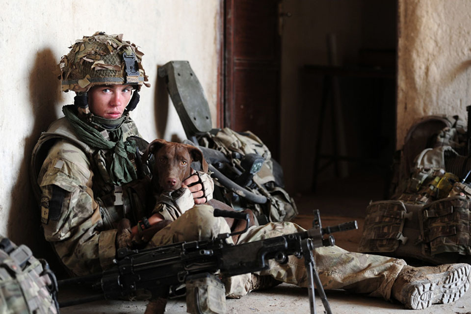 Rifleman Ross Mills, 1st Battalion The Rifles, with his company's adopted dog 'Sharpie' - winner of the Army Professional Portrait Image and Army Professional Operational Image