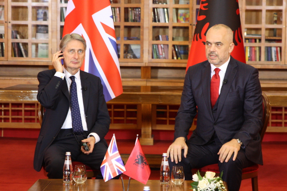 Foreign Secretary Philip Hammond with Albanian PM Edi Rama
