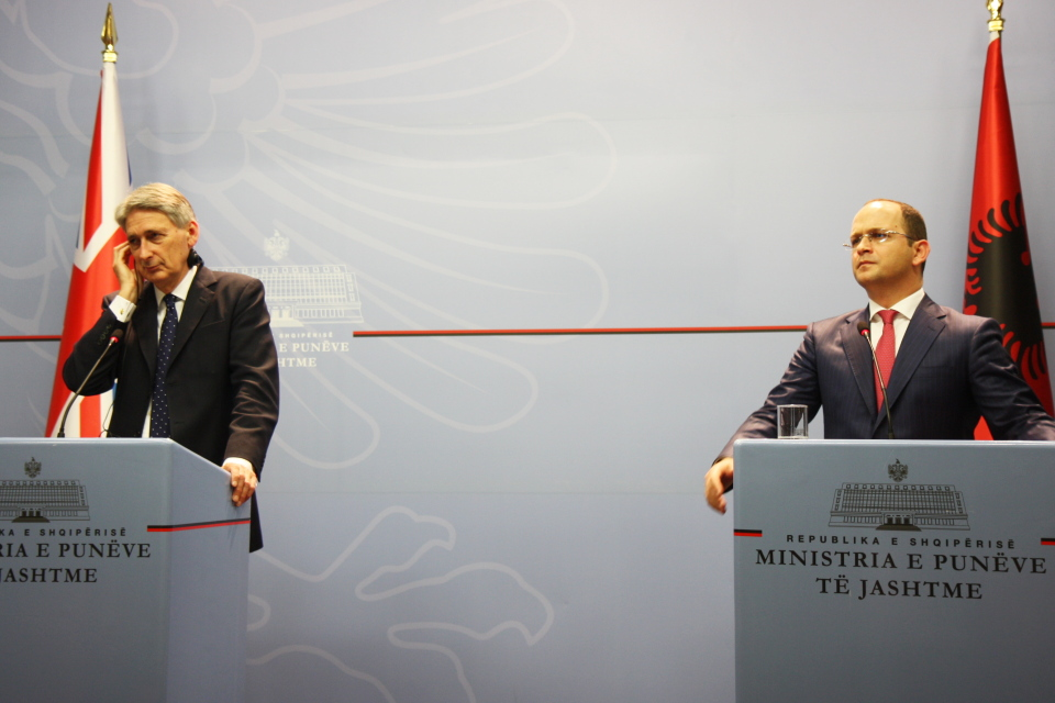 Foreign Secretary Philip Hammond with Albanian Foreign Affairs Minister Ditmir Bushati
