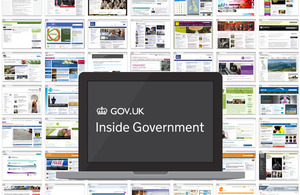 """A laptop with text saying """"Inside Government"""" superimposed over homepages of many government websites"""