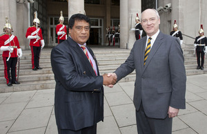 Nick Harvey, Minister of State for the Armed Forces (right), welcomes Lord Tu'ivakano, the Tongan Prime Minister, to the Ministry of Defence's Main Building in London