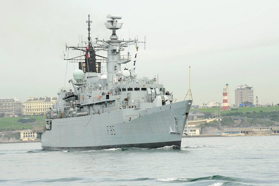 HMS Cumberland passes Plymouth Hoe on her way out of Devonport Naval Base