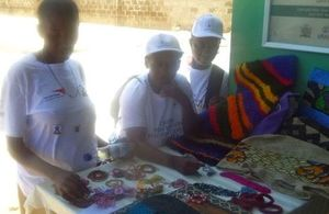 Survivors of GBV display mechandise for sale