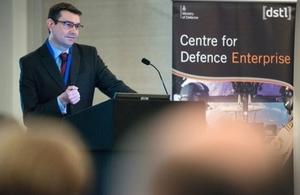 Dstl presenter at Centre for Defence Enterprise event.