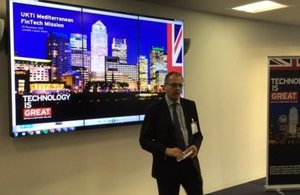 Martin Phelan, UKTI Director Iberia, introduces the UKTI Mediterranean Fintech mission at Level39