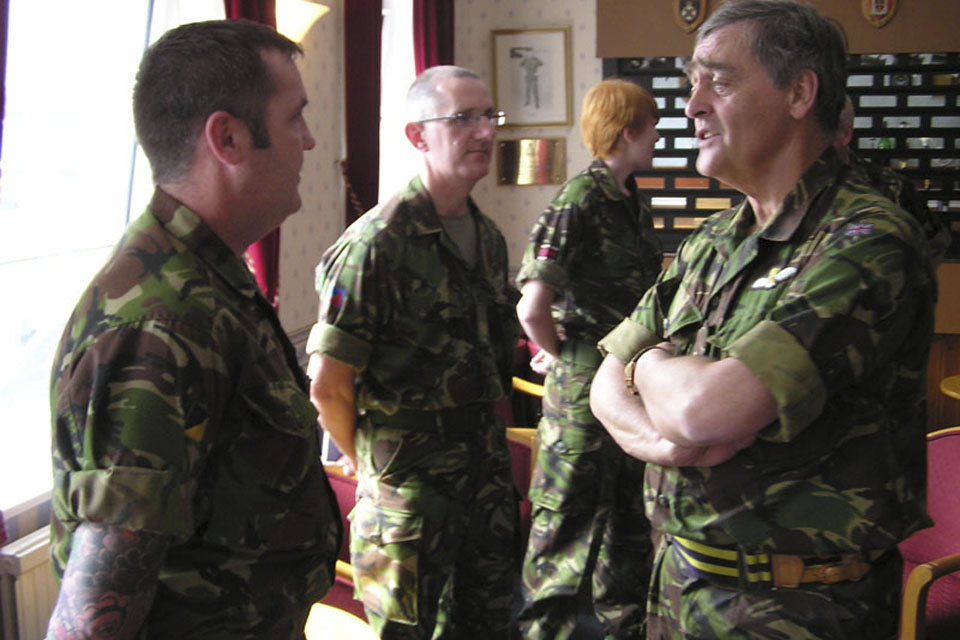 Major General The Duke of Westminster (right) chatting to soldiers from 201 Field Hospital who are currently preparing to deploy to Afghanistan to support Operation HERRICK