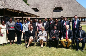 The British High Commissioner, Dianna Melrose in a group picture with Judges