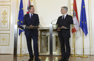 PM David Cameron holds talks with Chancellor Faymann