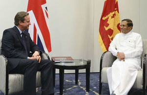 PM David Cameron meets with Sri Lankan President Sirisena