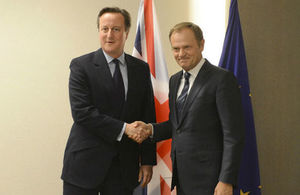 Prime Minister David Cameron meets with Donald Tusk, President of the European Council at the EU-Turkey Summit