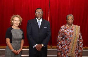 HE Jo Lomas, HE President Dr. Hage Geingob, & Right Hon Deputy Prime Minister Netumbo Nandi-Ndaitwah