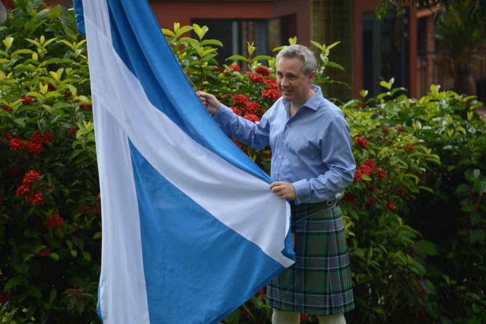 Erlend raises the Saltire