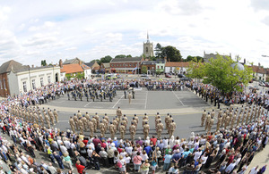 Members of II (Army Cooperation) Squadron on parade in the town of Swaffham, Norfolk