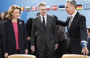 NATO Secretary General Stoltenberg welcomes Montenegro Deputy Prime Minister and Minister of Foreign Affairs and European Integration Luksic and Defence Minister Pejanovic-Djurisic to the table