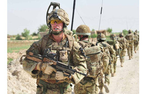 Royal Marines on patrol around Zaborabad