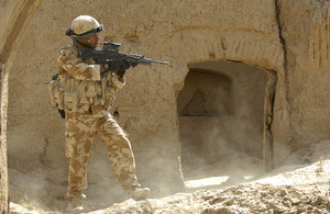 A member of the Royal Air Force Regiment conducting a routine patrol