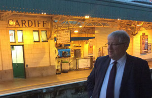 Patrick McLoughlin at Cardiff Station.