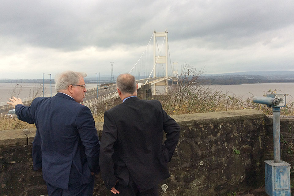 Patrick McLoughlin at the Severn Crossing.