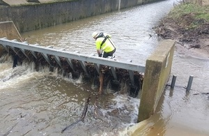 Environment Agency teams are out checking flood defences and clearing blockages in watercourses.