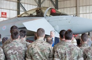 Defence Secretary Michael Fallon at RAF Akrotiri. Crown Copyright.