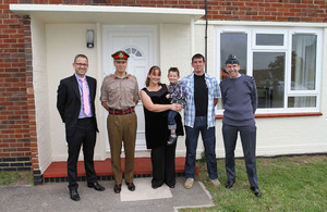 Left to right: Phil Shepley, (Managing Director, MODern Housing Solutions), Major General George Norton CBE, General Commanding London District, Mrs Sarah Bell and son Alexander, Lance Corporal Paul Bell, Air Commodore Alan Opie (DIO Head of Operations Ac