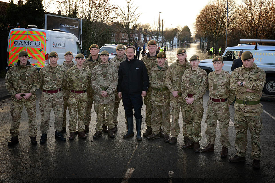 The Prime Minister David Cameron with elements of 5 and 6 Platoon, Blenheim Company, 2nd Battalion The Duke of Lancasters Regiment. Crown Copyright.