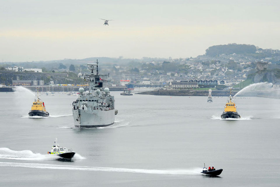 HMS Cumberland returns to Her Majesty's Naval Base Devonport