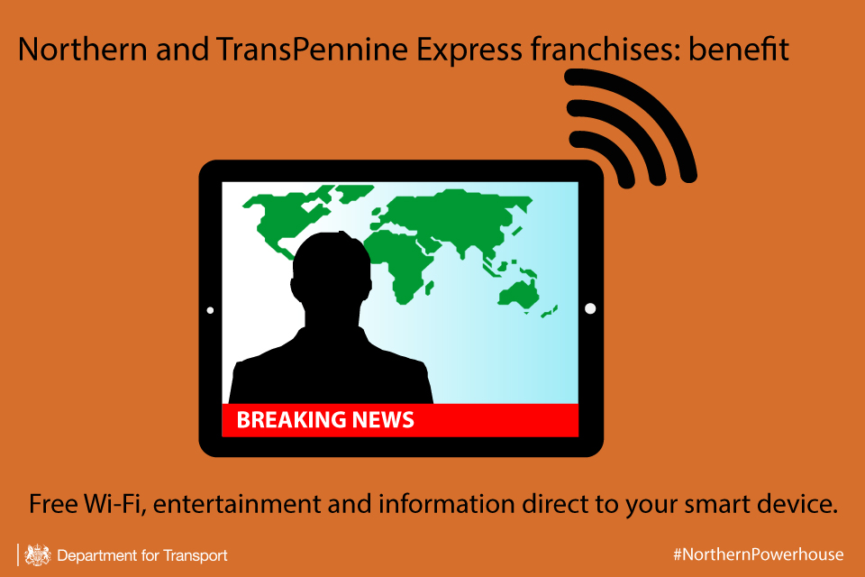Northern and TransPennine Express franchises Wi-Fi infographic.