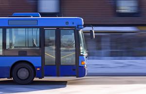 A blue bus