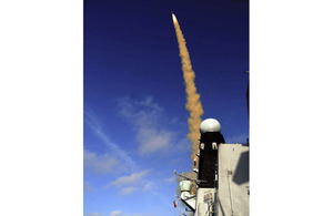 HMS Daring fires her new Sea Viper air defence missile system during a training exercise at the MOD's target range in the Hebrides