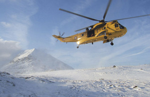 An RAF Sea King helicopter during a Search and Rescue mission