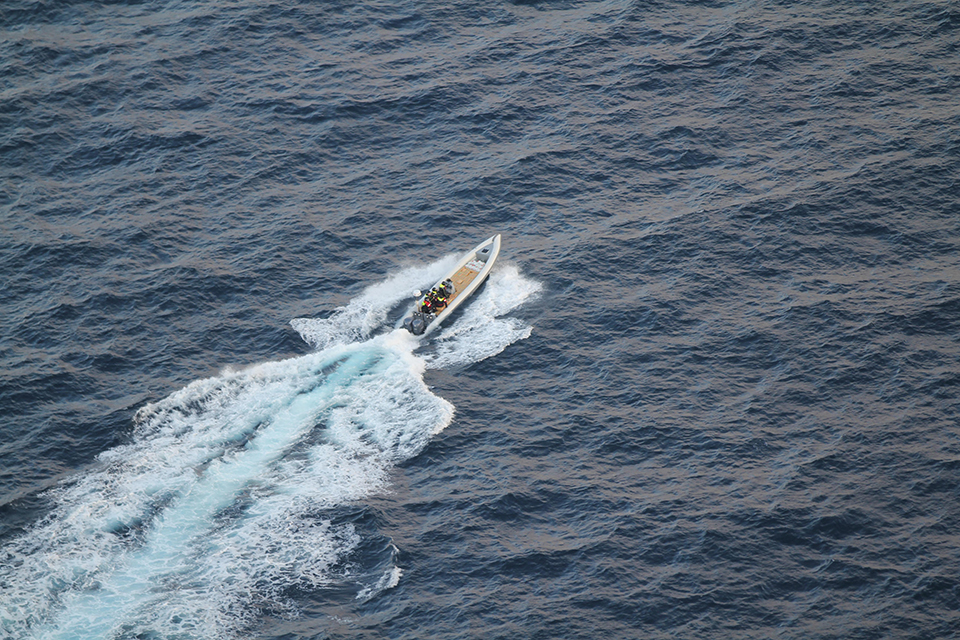 Small boat involved in HMS St Albans drugs seizure. Crown Copyright.