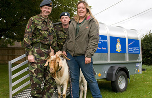 Recruit Training Squadron mascot George the goat arrives at RAF Halton in his new trailer to attend a graduation parade