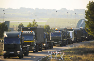 A Royal Air Force truck convoy from 2 (Mechanical Transport) Squadron arrives at Gioia del Colle, Italy