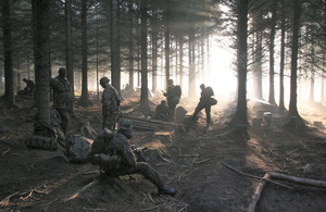 Woodland provides a challenging environment for soldiers training at Catterick